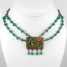 "Dangle Choker Necklace 14"" Qxl4 Vintage Antique Costume Green Bead Ball"