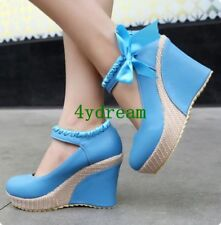 Sweet Womens High Heel Platform Wedge Pumps Sandal Bowknot Mary Jane New Shoes