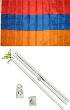 3x5 Armenia Flag White Pole Kit Set 3'x5'