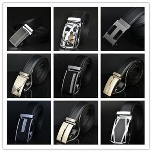 Brand New Mens Stylish Quality Belt Genuine Leather Black Automatic Buckle