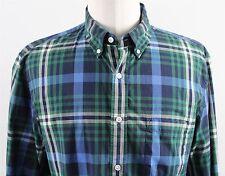 MINT J.Crew Slim Secret Wash L/S Button Down Shirt MENS LARGE Blue Green Plaid