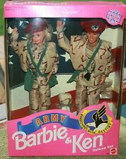 BARBIE AND KEN STARS N STRIPS ARMY BARBIE AND KEN DELUXE SET FROM MATTEL 1992