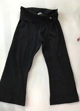 HARD TAIL forever Girls 💕Black Rollover cropped capri 401 Yoga Pants SZ L 14