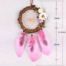 Handmade Dream Catcher With feather Wall Car Hanging Decor Ornament Gift Pink