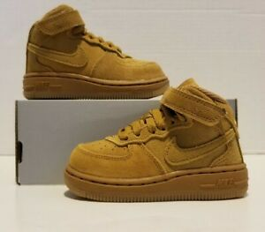 Nike Force 1 Mid LV8 (TD) Wheat/Gum Size 5c 859338-701 NEW NO BOX LID