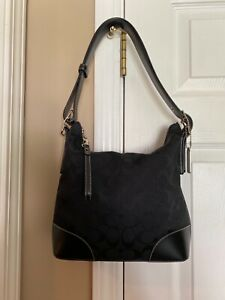 Coach Black Signature Canvas/ Leather Medium size Hobo Shoulder Bag