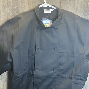 Chef Works Mens Morocco Short Sleeve Chef Coat Black Select Size