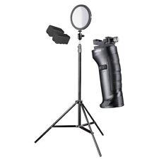 walimex pro LED Round 200 Set XL, prof. Foto- und Videolicht mit Stativ, Halter