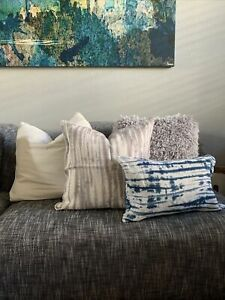 ROOST home Shibori Linen GREY Natural Pillow Covers 20x20