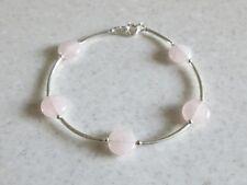 Romantic Pink Rose Quartz Coin Beads & Sterling Silver Bangle Bracelet Gift