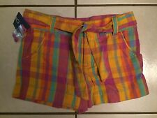 NWT Cherokee plaid multi-color girls shorts size 6 100% cotton