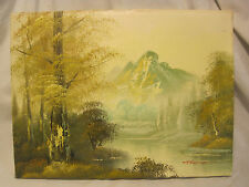 Vintage original oil painting canvas signed Thomas mountain nature wilderness