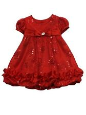 Rare Editions Girls Red Spangle Mesh Bubble CHRISTMAS Holiday Party Dress 18M