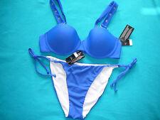 BIKINI 34A PUSH UP TOP & 12 TIE SIDE BOTTOMS BLUE NEXT SWIMWEAR BNWTS £34