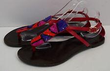 DVF DIANE VON FURSTENBERG Fuscia Pink Sequin Flat Thong Sandals Shoes 10.5 UK7
