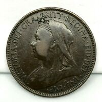 1900 GREAT BRITAIN VICTORIA 1/2 PENNY BRONZE COIN- KM# 789. #2