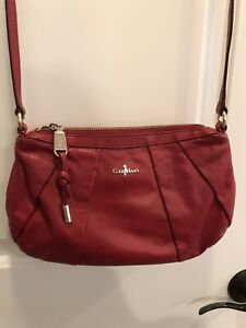 Womens Small Red COLE HAAN Cross Body Purse Zip Closure