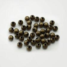 LOT de 200 PERLES RONDES 4mm METAL couleur BRONZE SANS NICKEL création bijoux