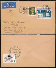 POSTAGE DUE CHRISTMAS ISLAND 1970 from GB AIRMAIL +FISH 15c +SURCHARGE HANDSTAMP