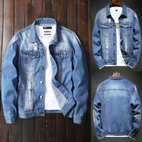 ❤️ Mens Cowboy Ripped Denim Jacket Coat Causal Long Sleeve Button Jeans Outwear