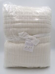 Pottery Barn Handcrafted Tencel Reversible Quilt Full Queen Natural White #9792T