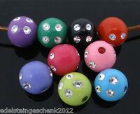 100 Mehrfarbig Plastik Spacer Perlen Beads Strass Kugeln 8mm