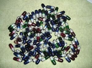 LOT OF 115 RED,GREEN,BLUE E10 BASE 12 VOLT INCANDESANT BULBS, USA MADE