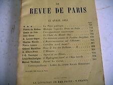 LA REVUE DE PARIS n° 8 - 1934 revue littéraire Giono Herbillon Vaudoyer etc