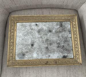 Vintage Aged Mirror Tray Gold Tone Metal Frame Victorian Style 15x11 Gorgeous!