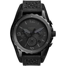 Reloj Para Hombre Nate Cronógrafo Fossil Correa De Cuero Negro Dial Negro JR1510