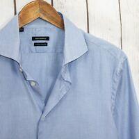 SUITSUPPLY Men's Button Front Dress Shirt 2ply Blue White Striped Sz 16 1/2 Long