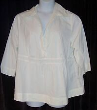 Soft by Avenue Plus Size 22-24 White Tunic 3/4 Sleeve Top