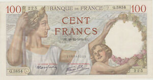 100 FRANCS SULLY  28 - 12 - 1939