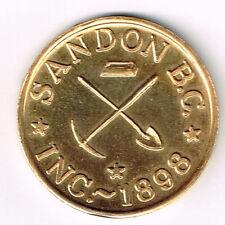 RARE SANDON BC INC 1898 THE VIRGINIA GOOD FOR $20 IN TRADE 10K GOLD TOKEN TESTED
