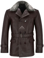 Men Leather 'GERMAN PEA COAT' Brown Fur Collar Military REAL HIDE JACKET DR-WHO