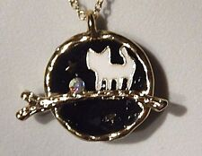 TINY KITTY IN THE NIGHT NECKLACE gold enamel kitten branch globe pendant star 3C