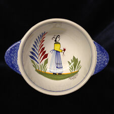 HENRIOT QUIMPER FRANCE QUI54 LUGGED CEREAL BOWL WOMAN FLOWERS SPONGED BLUE