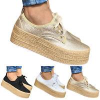 Womens Platform Espadrilles Flat Pumps Summer Slip On Comfy Loafers Casual Shoes