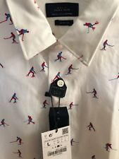 Zara Man Slim-Fit Long Sleeve Hockey Print Dress Shirt Size Large New With Tags