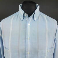 Levi's Mens Vintage Casual Shirt LARGE Long Sleeve Blue Regular Fit Striped