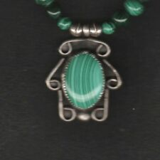 Malachite & Sterling Silver Bead Necklace