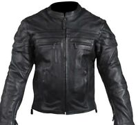 MEN'S MOTORCYCLE SCOOTER JACKET WITH REFLECTIVE PIPING 2 GUN POCKETS & VENT BLK