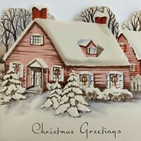 Vintage Early Mid Century Christmas Greeting Card Die Cut Pink House Snowy Roof