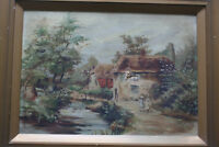 Antique Original Landscape Village Oil Painting on Canvas - Framed & Signed