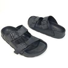 Birkenstock Birkies Black Pebbled Leather Buckle Strap Women's Sandals Size 38