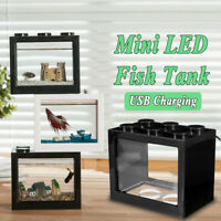 Mini Betta Fish Tank Ornament USB LED Light Clear Aquarium Office Desktop