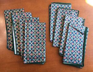 Glazed Chintz Dark Blue/Red Flower Napkins Set of 8 - Unused - Cotton?
