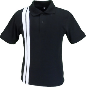 Mazeys Mens Black Racing Stripe 100% Cotton Polo Shirts