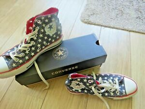 CONVERSE ALL STARS RED NAVY WHITE HI TOP BASEBALL BOOTS TRAINERS SIZE UK 5 / 38