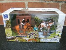NEWRAY Western Stagecoach Cowboy Plastic Toy Figures Horses Boxed Set